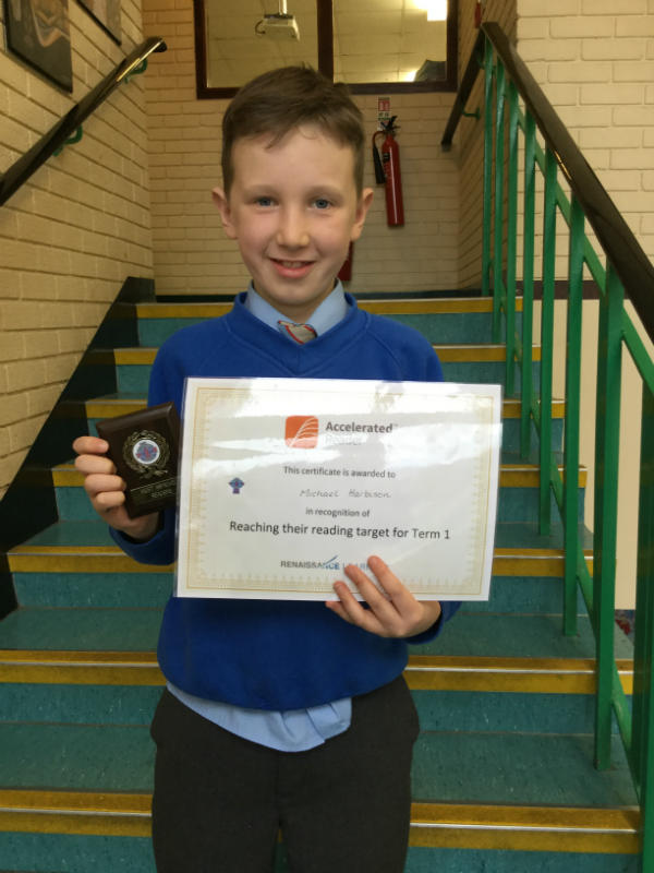 Michael Harbison reached his reading target and made fantastic progress.