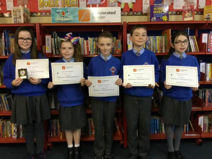 Olivia, Molly, Tom, Nathan and Niamh met their reading targets.